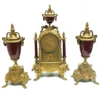 Vintage Sevres Mantel Clock Garniture 8 Day Striking Ormolu Mantel Clock (13 of 14)