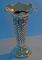 Edwardian Silver Trumpet Shaped Vase with Blue Glass Liner - Chester 1901 (4 of 4)
