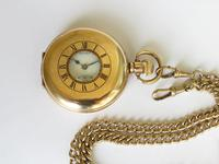 1930s Bravingtons Renown half hunter pocket watch and chain (3 of 5)