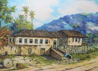 Large oil on canvas tropical sunshine view Brazilian artist Chediac (9 of 10)