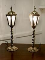 Pair of Arts & Crafts Barley Twist Brass Hall Table Lanterns (6 of 6)
