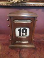 Large Antique Polished Oak Perpetual Desk Calendar (6 of 6)