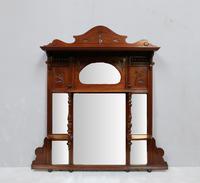 Victorian Aesthetic Movement Walnut Overmantel Mirror