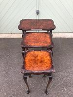 Antique Burr Walnut Nest of 3 Tables (6 of 8)