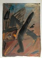 Original oil on card 'Running figure' by Doreen Heaton Potworowski 1930-2014. Initialled and dated 1975