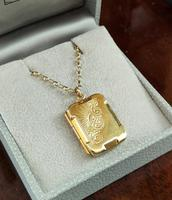 Art Deco 9ct Back & Front Gold Locket on Chain (4 of 10)