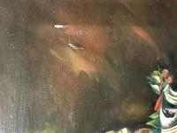 German 20th Century Oil Painting Banquet Red Lobster Serving Tray Peaches Grapes (6 of 23)