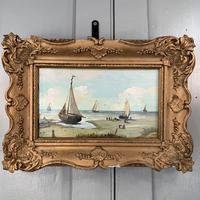 Antique coastal seascape oil painting of fishing boats signed YT (6 of 9)