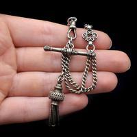 Antique Sterling Silver Albertina Albert Watch Chain Bracelet with Tassel (8 of 9)