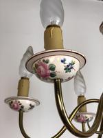 Vintage French Large Porcelain & Brass 6 Arm Flemish Chandelier (10 of 11)