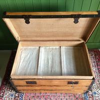 Antique French Steamer Trunk Coffee Table Old Rustic Chest and Key + Original Interior (11 of 12)
