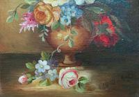 Superb Original Early 20th Century Continental Miniature Floral Still Life Oil Painting (4 of 11)