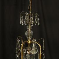 French Gilded & Crystal Birdcage 7 Light Antique Chandelier (9 of 10)