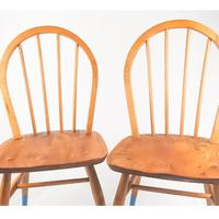 Pair of Ercol Windsor Chairs with Blue Legs (4 of 7)