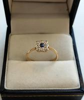 18ct Gold Platinum Art Deco Sapphire & Diamond Ring Size M.5 (10 of 16)