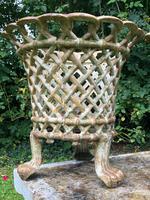 Pair of Fine Antique Edwardian Garden Cast Iron Lattice Urn Planters on 3 Lion Feet (3 of 12)