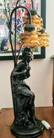 Antique Art Nouveau Bronzed Lamp (3 of 7)