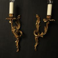 French Pair of Gilded Antique Wall Lights (2 of 10)