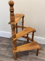 Victorian Style Light Oak Library Spiral Curved Step Ladder Stand (14 of 24)
