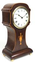 Impressive Solid Mahogany Tulip Cased Timepiece Clock with Satinwood Inlaid Decoration (5 of 10)