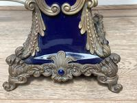 Pair of French Large Rams Heavy Bronze Blue Ceramic Table Lamps (5 of 46)