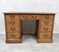 19th Century Oak Pedestal Desk (4 of 8)