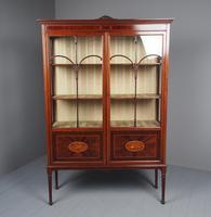 Antique Sheraton Style Inlaid Mahogany Display Cabinet