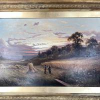 Antique Victorian Large Landscape Oil Painting in Ornate Gilt Gesso Frame Signed H Jones (4 of 10)
