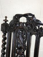 Antique 19th Century Carved Chair with Leather Seat (M-193) (10 of 14)