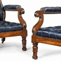 Pair of William IV Mahogany & Leather Upholstered Armchairs (3 of 11)
