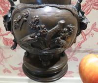 Japanese Bronze Censer & Cover with Kylin on a Rock on the Lid (3 of 10)