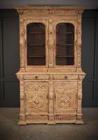 Carved Raw Oak Glazed Bookcase (12 of 21)