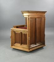 Rare Carved Linenfold Oak Pulpit Reading Chair (4 of 7)