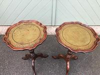 Pair of Walnut Leather Top Tripod Wine Tables (6 of 8)