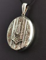 Antique Victorian Silver Buckle Locket, Large, Engraved (7 of 14)