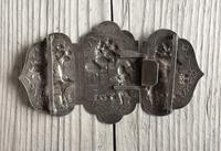 Antique Burmese Silver Belt Buckle, High Relief Repousse, Figures and a Cow c.1880 (6 of 8)