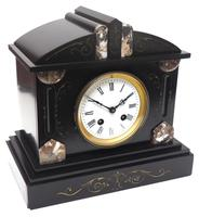 Fine Antique French Slate Mantel Clock - Bell Striking 8-day Mantle Clock c.1900 (4 of 12)
