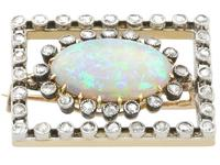 2.23ct Opal & 0.82ct Diamond, 9ct Yellow Gold Brooch - Antique c.1900 (4 of 9)