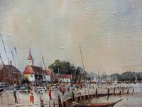 Large Oil on Canvas Dockside View Listed Artist Ira Englefield (4 of 12)