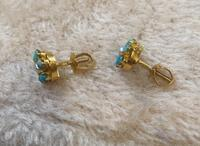 9ct Gold Turquoise & Pearl Cluster Earrings (3 of 5)
