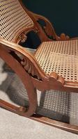 Antique Solid Walnut Cane Work  Rocking Chair (4 of 5)