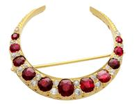 3.83ct Ruby & 0.48ct Diamond, 12ct Yellow Gold Crescent Brooch - Antique c.1890 (2 of 9)