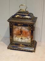 Small Blue Chinoiserie Bracket Clock (9 of 11)