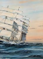Awesome Tea Clipper Ship 'Hornet' Rough Seas Seascape Watercolour Painting c.1909 (7 of 12)