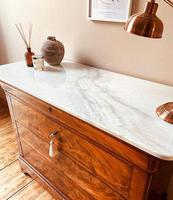 Flamed Mahogany Drawers / Louis Philippe Commode / Sideboard / Marble (4 of 9)