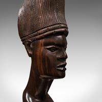 Antique Hand Carved Female Bust, African, Ebony, Ornamental Figure c.1900 (8 of 12)