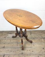 Victorian Walnut Oval Tilt Top Occasional Table (M-1713) (5 of 11)