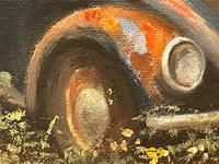 """Oil Painting """"Unloved Abandoned VW Beetle Car"""" Signed David Robert (16 of 27)"""