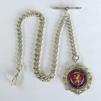 Antique Silver Pocket Watch Chain & Fob