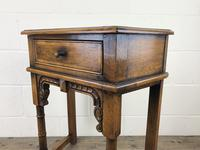 Vintage Oak Side Table with Drawer (10 of 11)